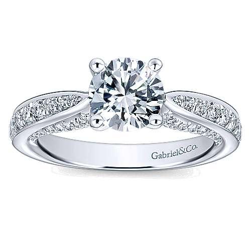 Gladiola 14k White Gold Round Straight Engagement Ring angle 5