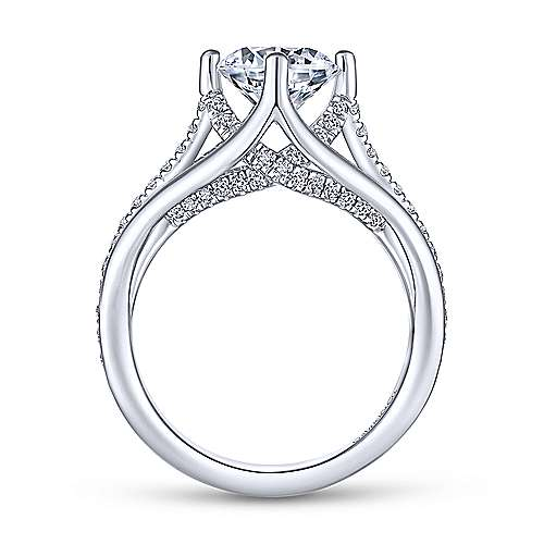 Gladys 18k White Gold Round Free Form Engagement Ring angle 2