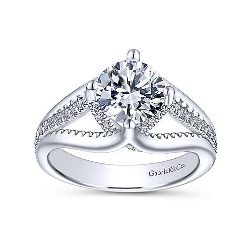 Gladys 18k White Gold Round Free Form Engagement Ring angle 5