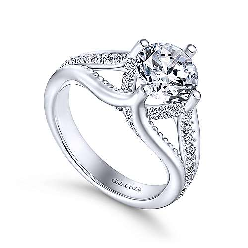 Gladys 18k White Gold Round Split Shank Engagement Ring angle 3