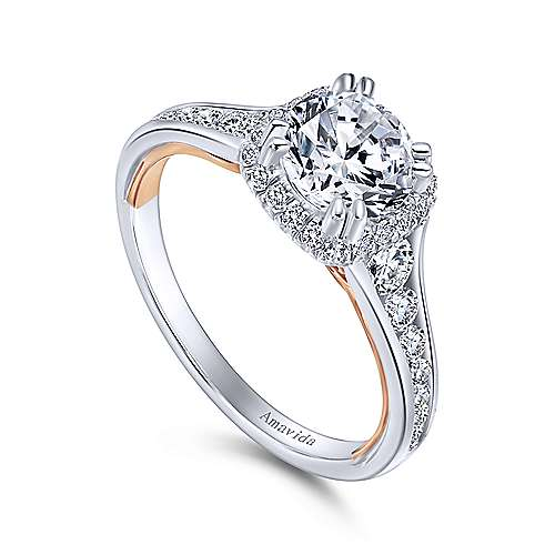 Glendale 18k White And Rose Gold Round Halo Engagement Ring