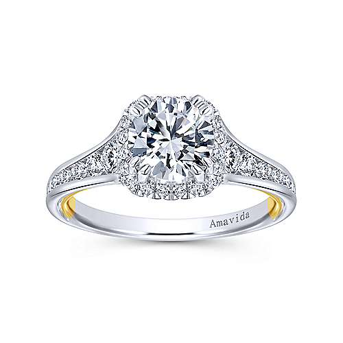 Glendale 18k Yellow And White Gold Round Halo Engagement Ring angle 5
