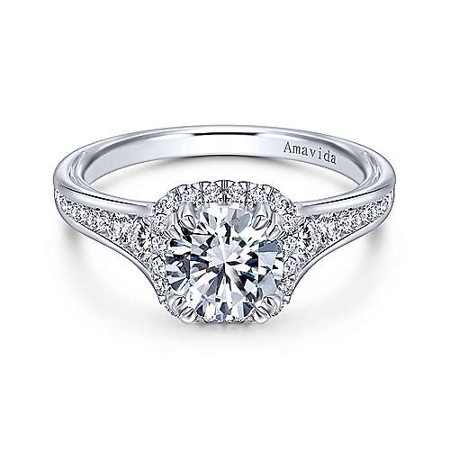 Gabriel - Glendale Platinum Round Halo Engagement Ring