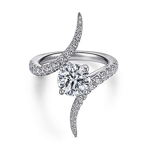 Gabriel - Glory 18k White Gold Round Bypass Engagement Ring