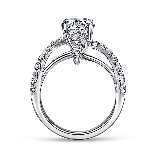 Glory 18k White Gold Round Bypass Engagement Ring angle 2