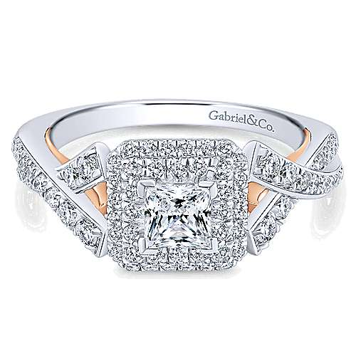 Glow 14k White And Rose Gold Princess Cut Halo Engagement Ring angle 1