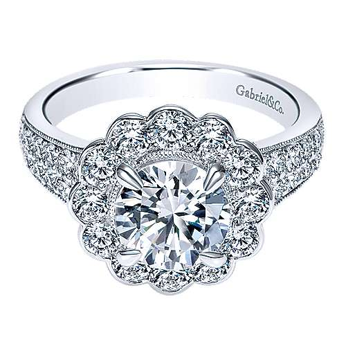 Gabriel - Grace 18k White Gold Round Halo Engagement Ring
