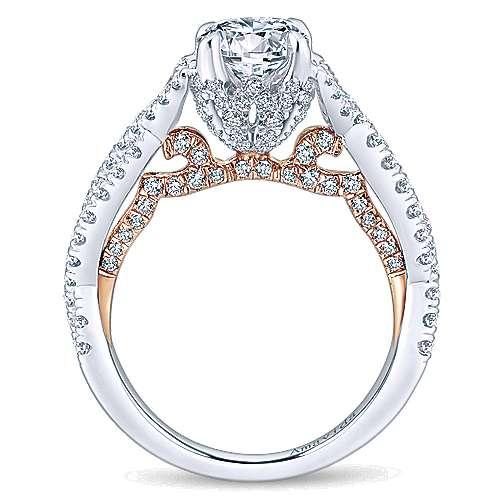 Graciela 18k White/rose Gold Round Twisted Engagement Ring angle 2