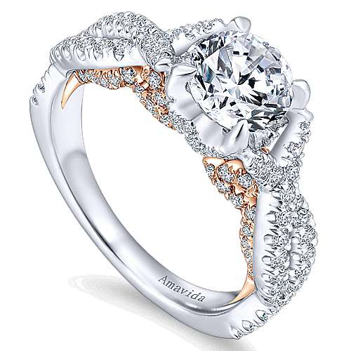 Graciela 18k White/rose Gold Round Twisted Engagement Ring angle 3