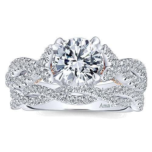 Graciela 18k White/rose Gold Round Twisted Engagement Ring angle 4