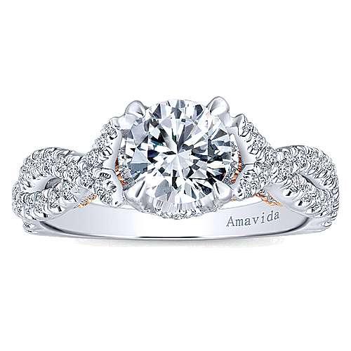 Graciela 18k White/rose Gold Round Twisted Engagement Ring angle 5