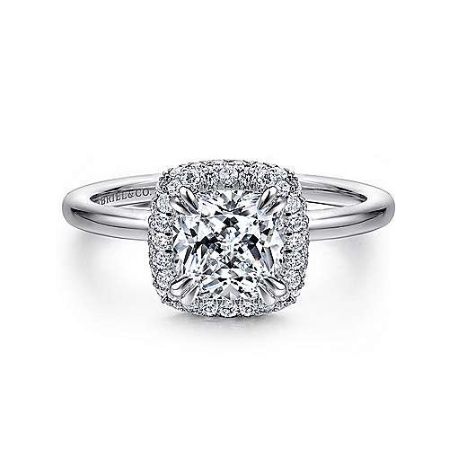 Gabriel - Graham 18k White Gold Cushion Cut Double Halo Engagement Ring