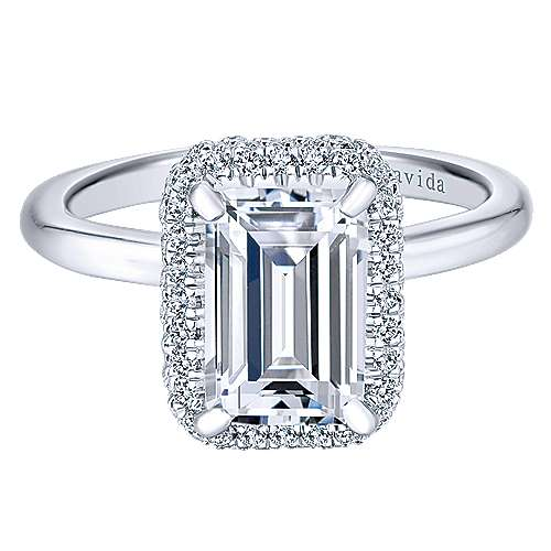 Gabriel - Graham 18k White Gold Emerald Cut Double Halo Engagement Ring