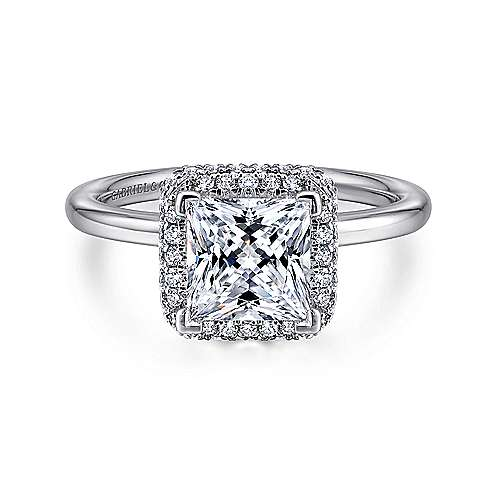 Gabriel - Graham 18k White Gold Princess Cut Double Halo Engagement Ring