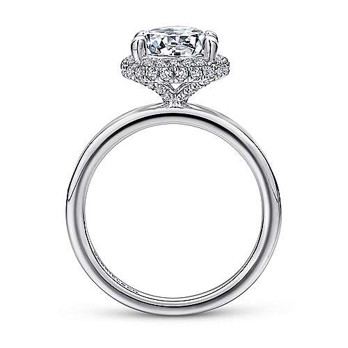Graham 18k White Gold Round Double Halo Engagement Ring angle 2