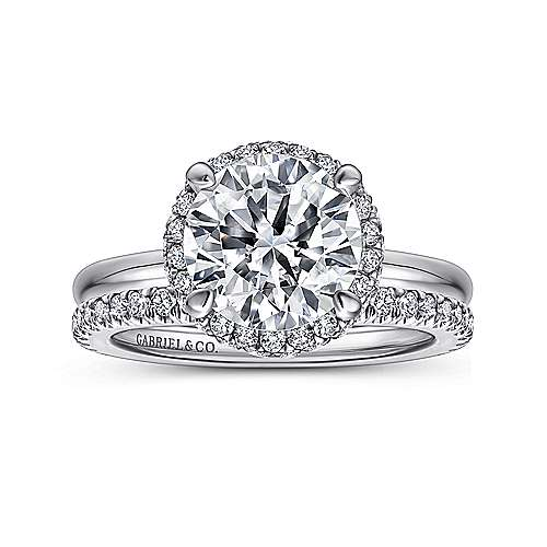 Graham 18k White Gold Round Double Halo Engagement Ring angle 4