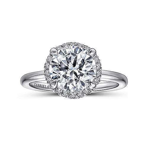 Graham 18k White Gold Round Double Halo Engagement Ring angle 5
