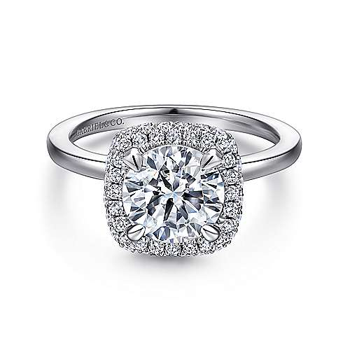 Gabriel - Graham 18k White Gold Round Double Halo Engagement Ring