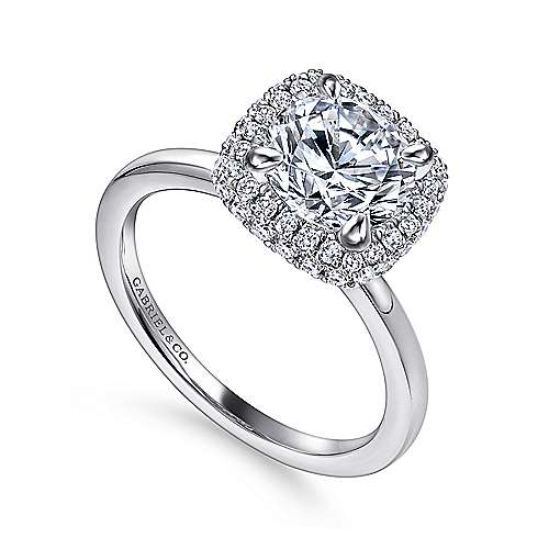 Graham 18k White Gold Round Double Halo Engagement Ring angle 3