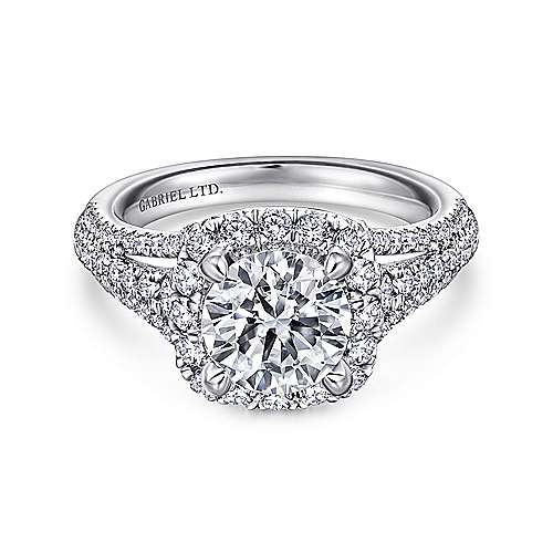 Gramercy 18k White Gold Round Halo Engagement Ring angle 1