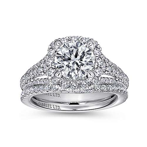 Gramercy 18k White Gold Round Halo Engagement Ring angle 4