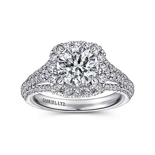 Gramercy 18k White Gold Round Halo Engagement Ring angle 5