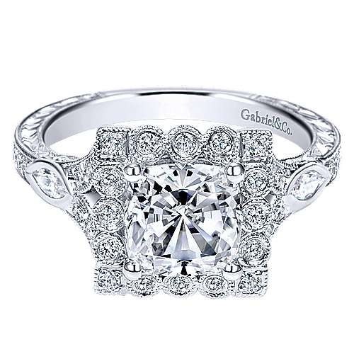 Gabriel - Grand 14k White Gold Cushion Cut Halo Engagement Ring