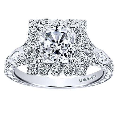 Grand 14k White Gold Cushion Cut Halo Engagement Ring angle 5