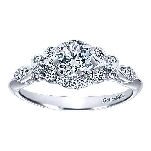 Gratitude 14k White Gold Round Halo Engagement Ring