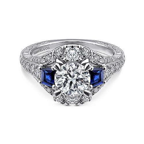 Gabriel - Greenwich 14k White Gold Round 3 Stones Engagement Ring