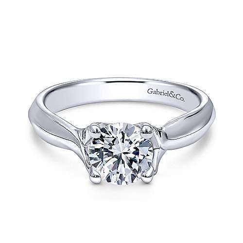 Gabriel - Greer 14k White Gold Round Twisted Engagement Ring