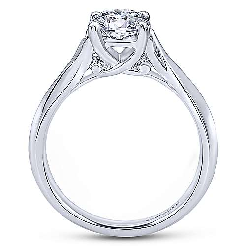 Greer 14k White Gold Round Twisted Engagement Ring angle 2