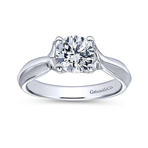 Greer 14k White Gold Round Twisted Engagement Ring angle 5