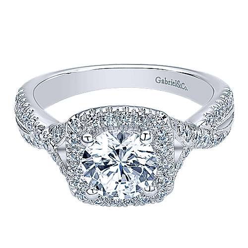 Gabriel - Greta 14k White Gold Round Halo Engagement Ring