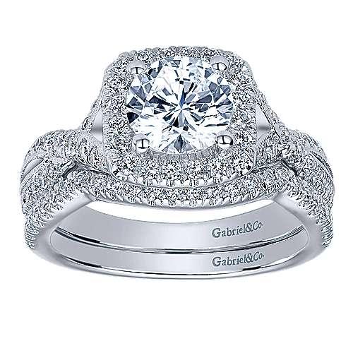 Greta 14k White Gold Round Halo Engagement Ring