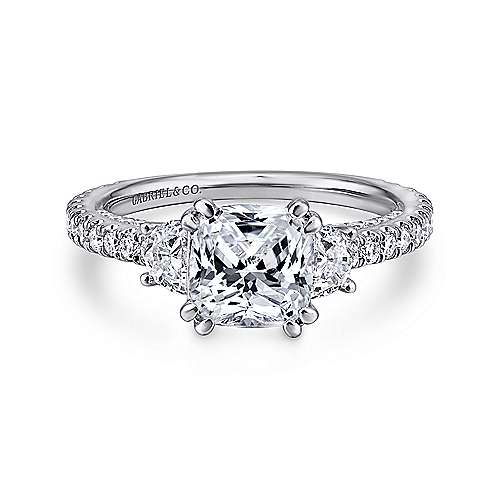 Gabriel - Gretchen 18k White Gold Cushion Cut 3 Stones Engagement Ring