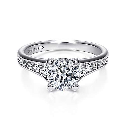 Gabriel - Guinevere 18k White Gold Round Straight Engagement Ring