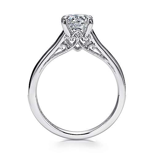 Guinevere 18k White Gold Round Straight Engagement Ring angle 2