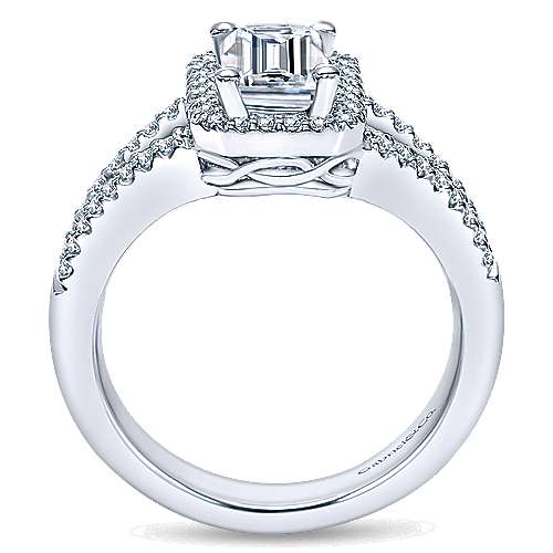 Hadley 14k White Gold Emerald Cut Halo Engagement Ring angle 2