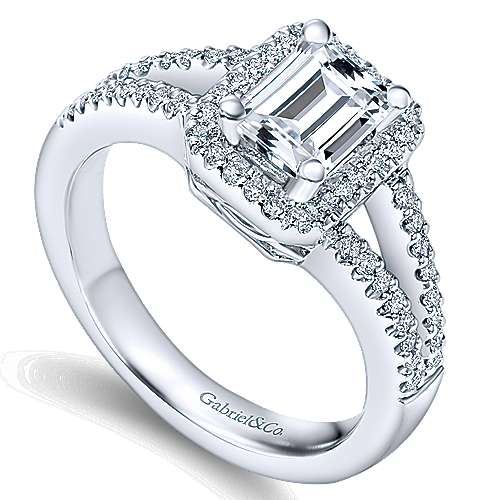 Hadley 14k White Gold Emerald Cut Halo Engagement Ring angle 3