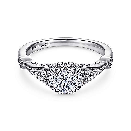 Hale 14k White Gold Round Halo Engagement Ring angle 1