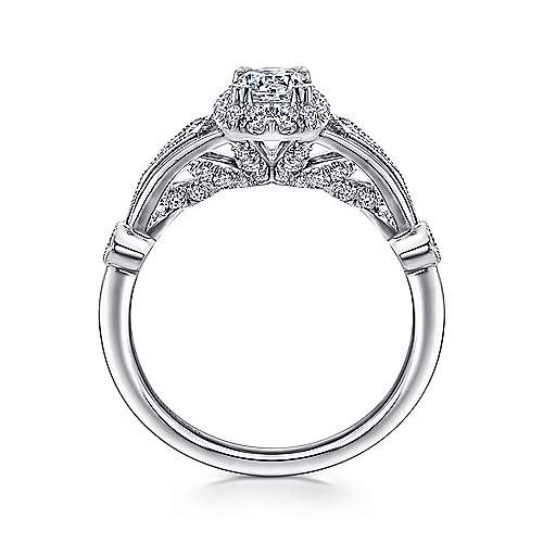 Hale 14k White Gold Round Halo Engagement Ring angle 2