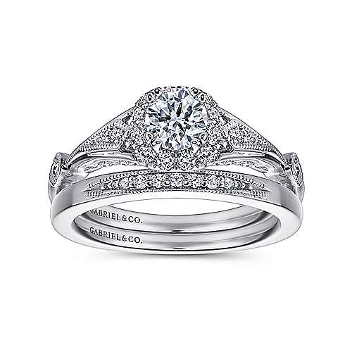 Hale 14k White Gold Round Halo Engagement Ring
