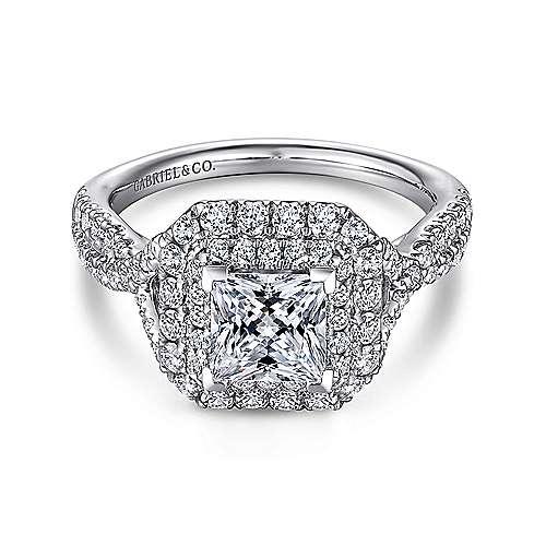 Gabriel - Halle 14k White Gold Princess Cut Double Halo Engagement Ring
