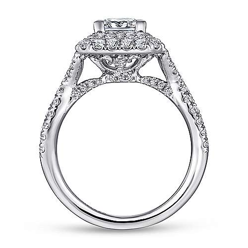 Halle 14k White Gold Princess Cut Double Halo Engagement Ring angle 2
