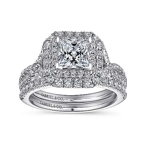 Halle 14k White Gold Princess Cut Double Halo Engagement Ring angle 4