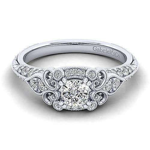 Gabriel - Halsey 14k White Gold Cushion Cut Halo Engagement Ring
