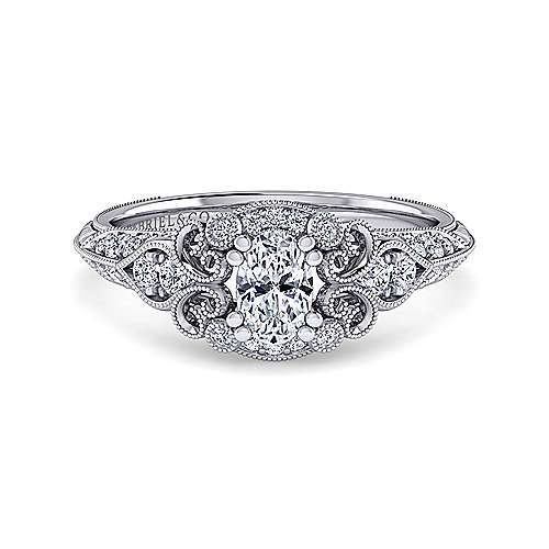 Gabriel - Halsey 14k White Gold Oval Halo Engagement Ring