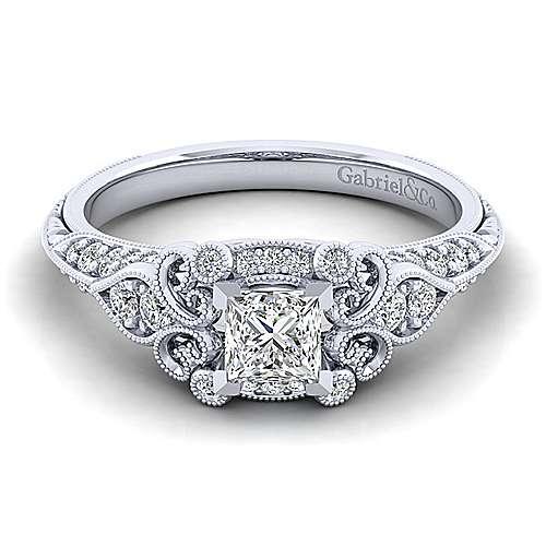 Gabriel - Halsey 14k White Gold Princess Cut Halo Engagement Ring