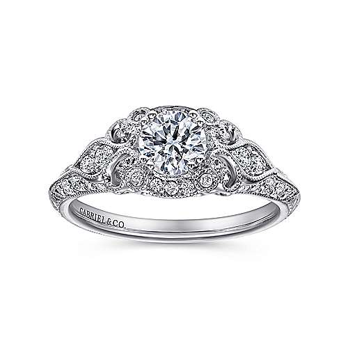 Halsey 14k White Gold Round Halo Engagement Ring angle 5